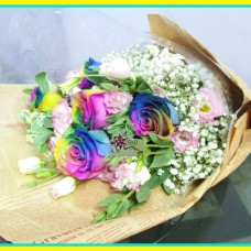 Rainbow roses bouquet